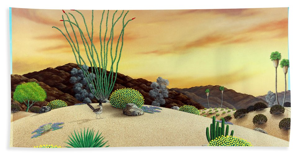 Desert Bath Sheet featuring the painting Orange Sky Sunset by Snake Jagger
