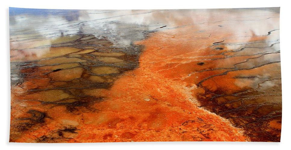 Yellowstone National Park Bath Sheet featuring the photograph Orange Stones by Catie Canetti