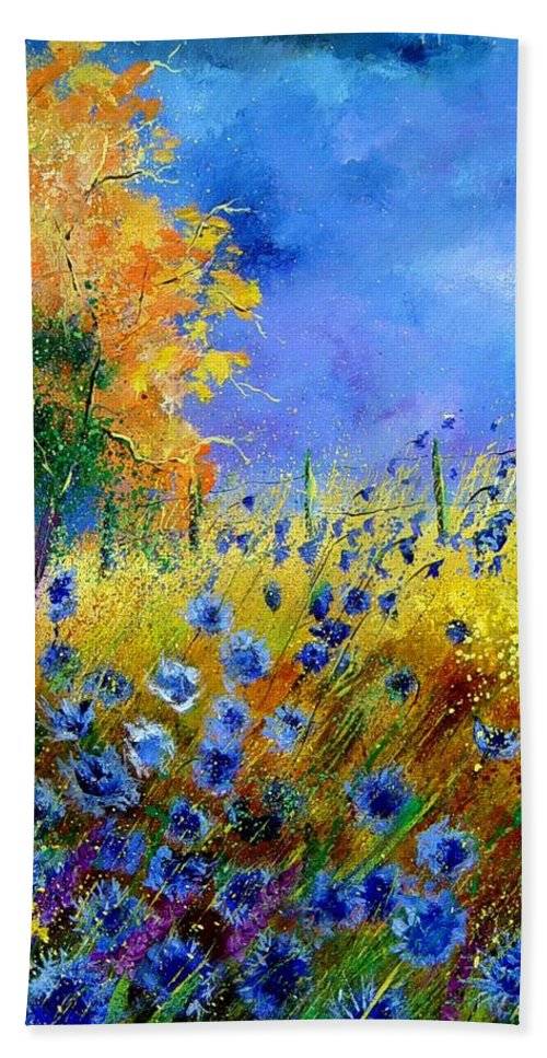 Poppies Bath Towel featuring the painting Orange Tree And Blue Cornflowers by Pol Ledent