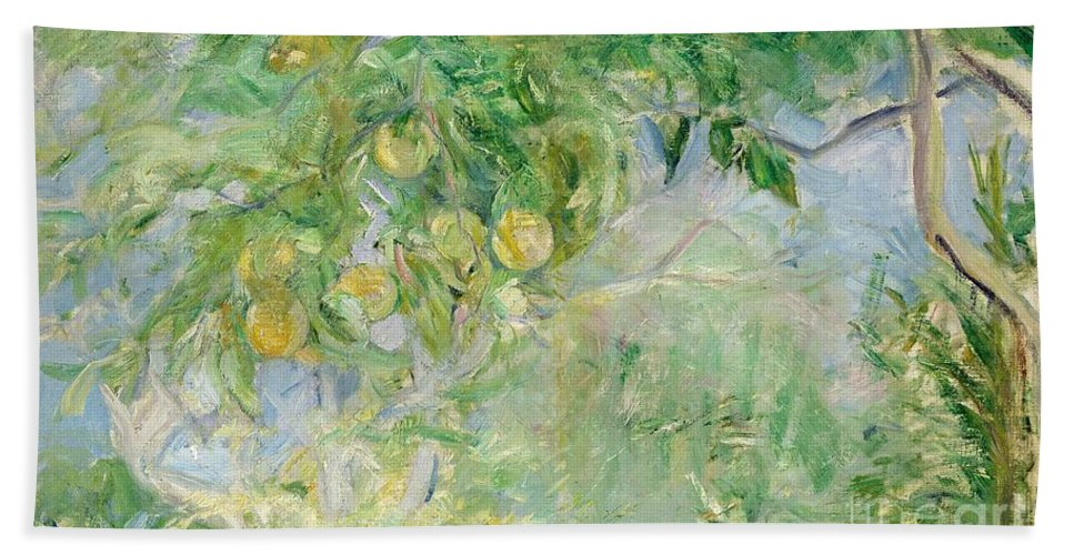 Branches D'oranger; Impressionist; Fruit; Oranges; Summer; Sunlight; Orange Bath Sheet featuring the painting Orange Tree Branches by Berthe Morisot