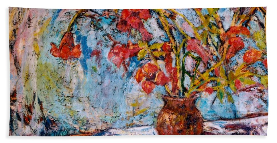 Trumpet Flowers Hand Towel featuring the painting Orange Trumpet Flowers by Kendall Kessler