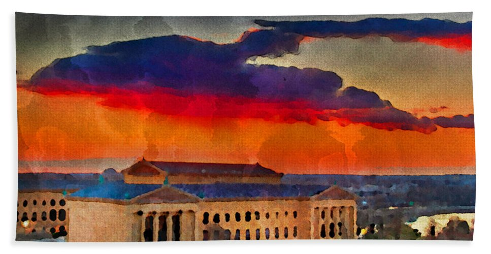 Art Museum Hand Towel featuring the photograph Orange Upon The Art Museum by Alice Gipson