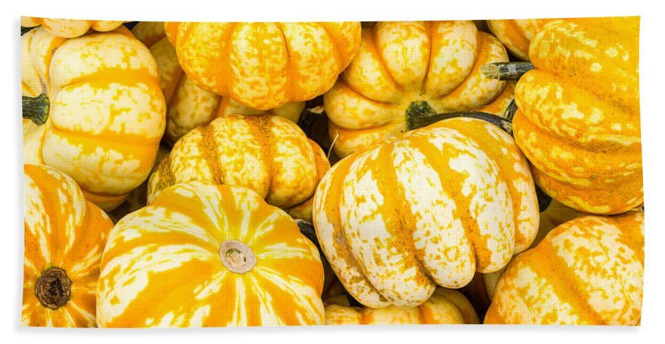 Agriculture Bath Sheet featuring the photograph Orange Winter Squash On Display by John Trax