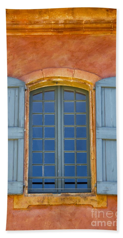 Roussillon France Provence Window Windows Shutter Shutters City Cities Cityscape Cityscapes Building Buildings Structures Architecture Bath Sheet featuring the photograph Oranges And Blues by Bob Phillips