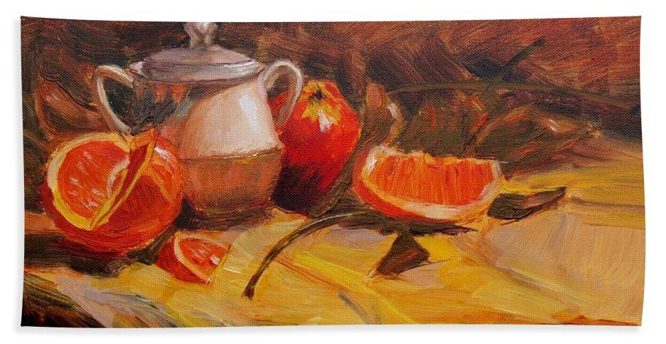 Still Life Bath Sheet featuring the painting Oranges by Elena Sokolova