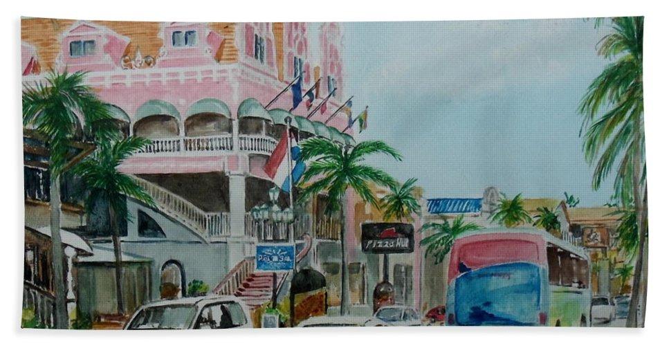 Palace Oranjestad Aruba Traffic Pink Trees Bus Hand Towel featuring the painting Oranjestad Aruba by Frank Hunter