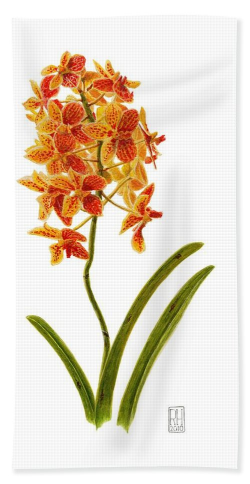 Orchid Bath Sheet featuring the painting Orchid 2 by Richard Harpum