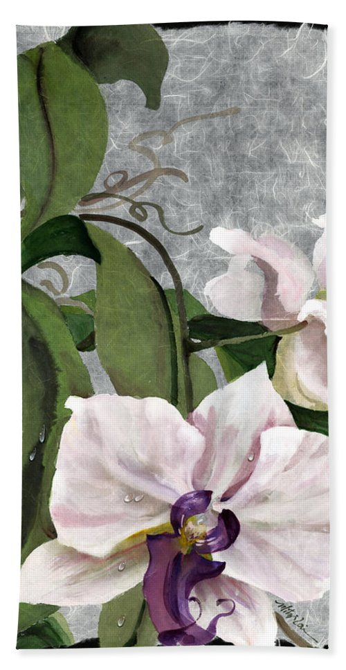 Orchid Bath Sheet featuring the painting Orchid A - Phalaenopsis by Mitzi Lai