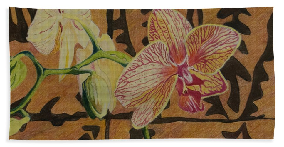 Orchid Hand Towel featuring the drawing Orchid With Tapa by Terry Holliday