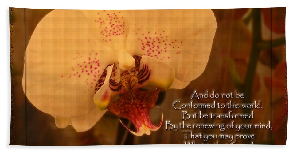 Nature Hand Towel featuring the photograph Orchid With Verse by Debbie Portwood