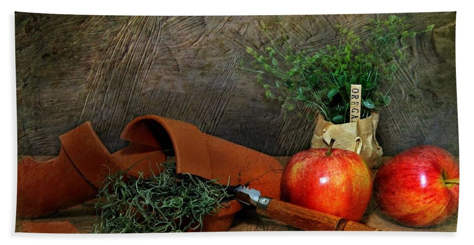 Still Life Bath Sheet featuring the photograph Oregano by Diana Angstadt