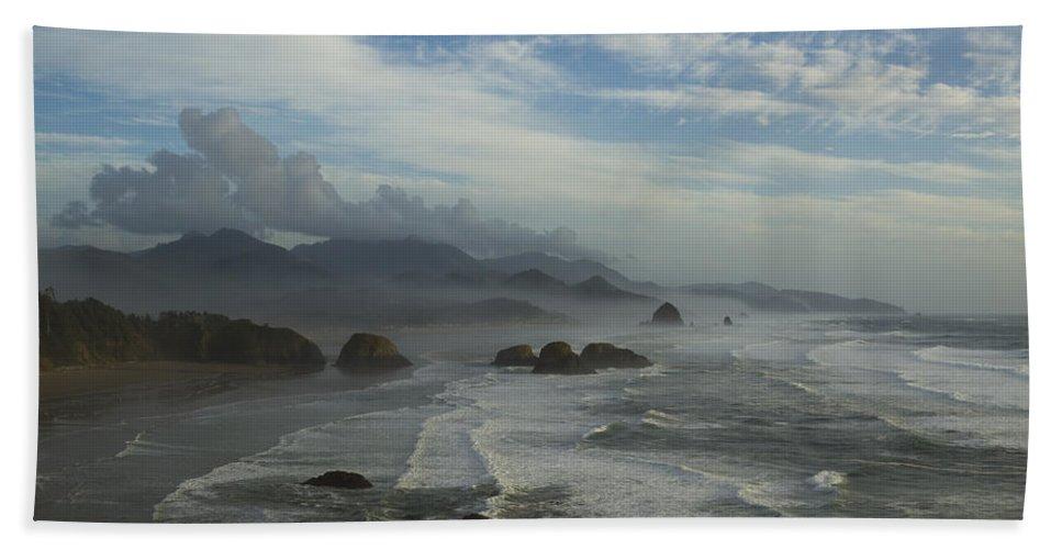 Haystack Bath Sheet featuring the photograph Oregon Coast Ecola 1 F by John Brueske