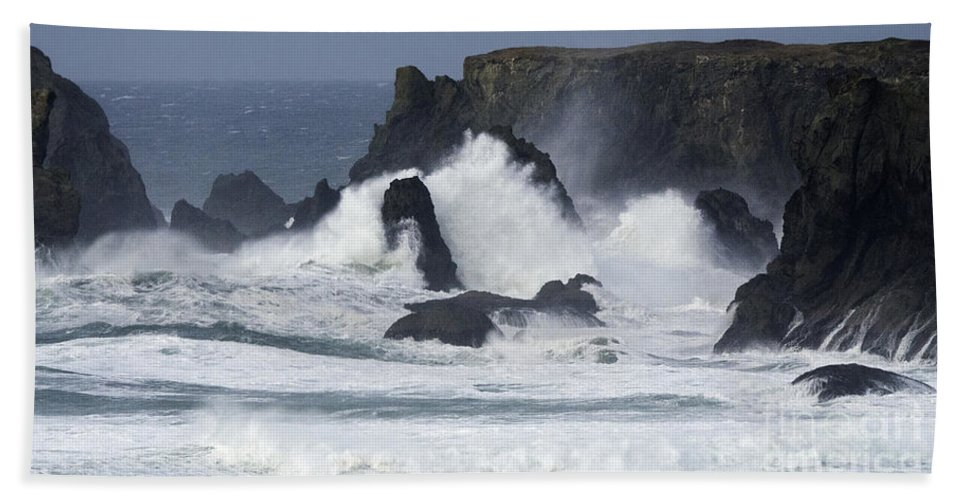 Bandon Hand Towel featuring the photograph Oregon Coast Furrious Waves 1 by Bob Christopher