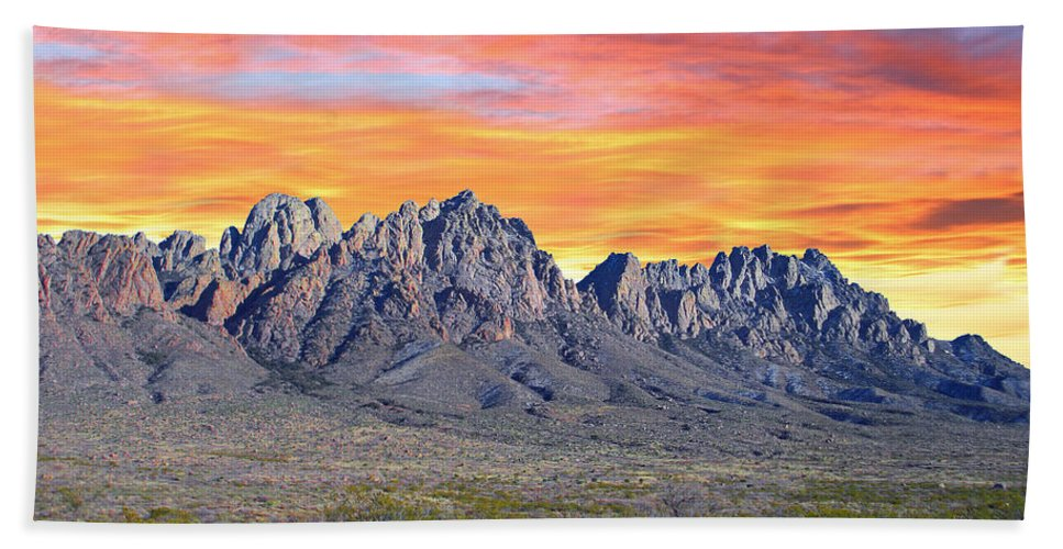 Sun Bath Towel featuring the photograph Organ Mountain Sunrise by Jack Pumphrey