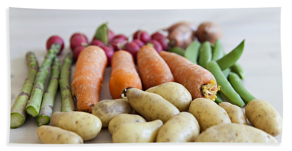 Onion Bath Sheet featuring the photograph Organic Garden Vegetables by Sophie McAulay