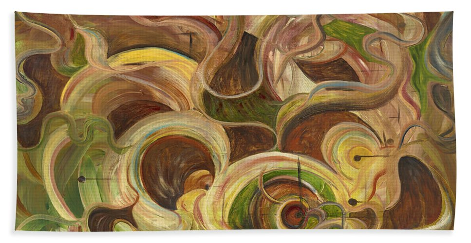 Organic Bath Sheet featuring the painting Organic Life by Nadine Rippelmeyer