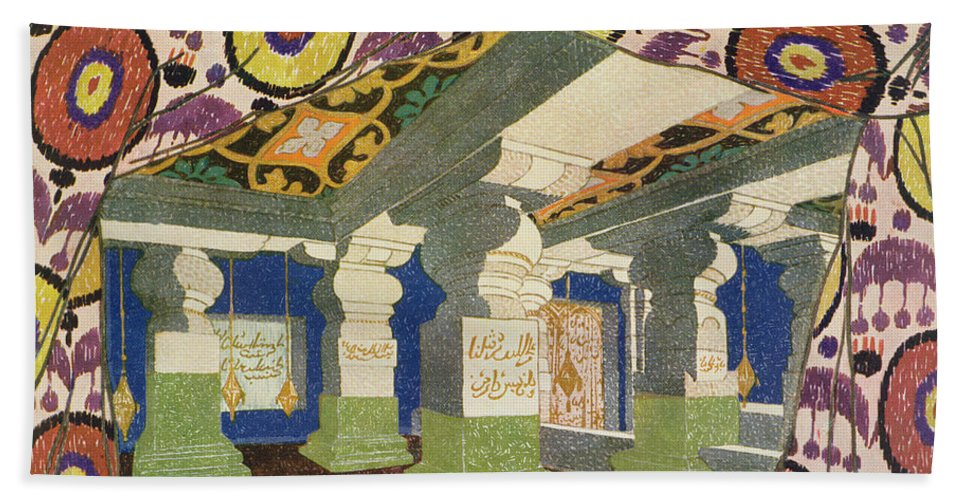 Leon Bakst Hand Towel featuring the painting Oriental Scenery Design by Leon Bakst
