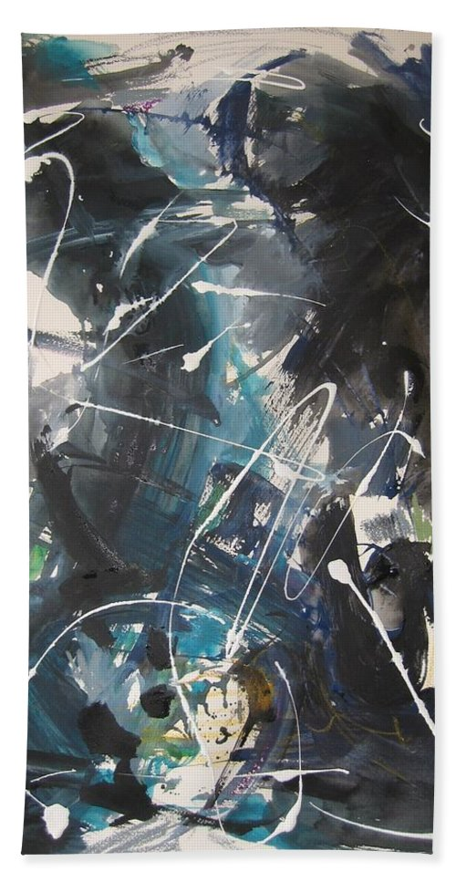 Blue Black Paintings Hand Towel featuring the painting original abstract blue and black painting for sale-Blue Valley by Seon-Jeong Kim