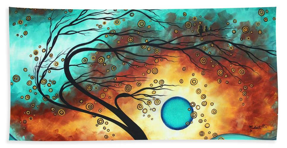 Abstract Bath Sheet featuring the painting Original Bold Colorful Abstract Landscape Painting Family Joy II By Madart by Megan Duncanson