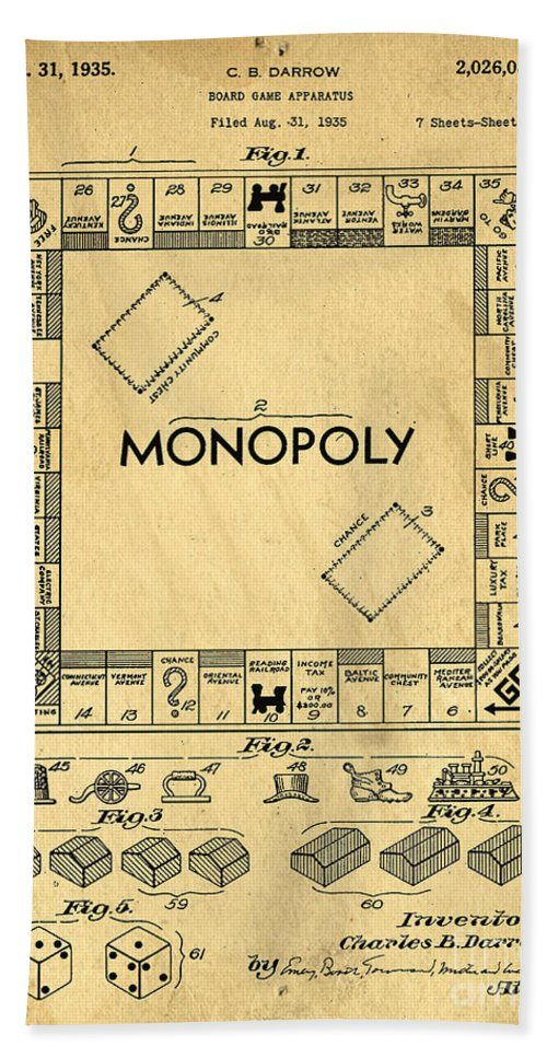 Monopoly Bath Sheet featuring the digital art Original Patent For Monopoly Board Game by Edward Fielding