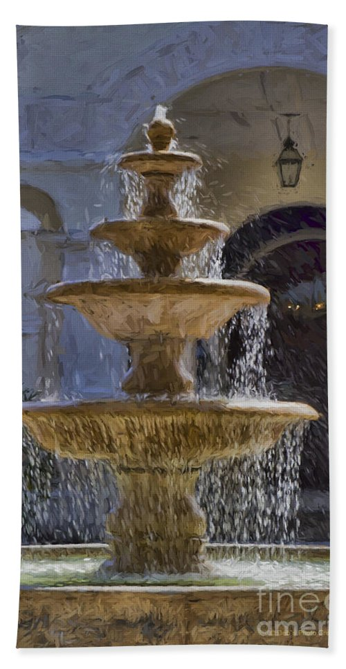 Water Fountain Bath Sheet featuring the painting Ormond Water Fountain by Deborah Benoit