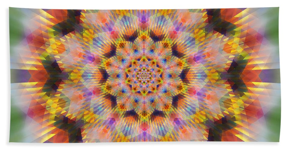 Ornament Hand Towel featuring the digital art Ornament 3 by Mark Greenberg