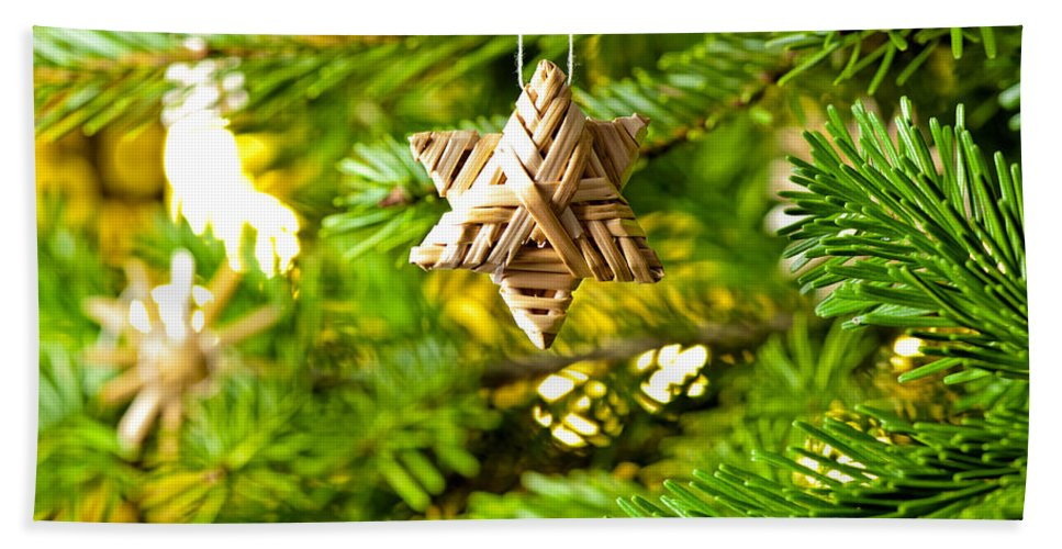 Advent Decoration Hand Towel featuring the photograph Ornament In A Christmas Tree by U Schade