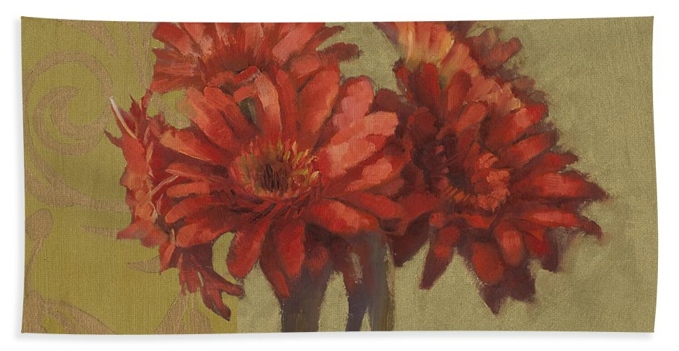 Floral Bath Sheet featuring the painting Ornamental Gerbers by Cathy Locke