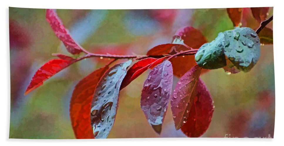 Nature Bath Sheet featuring the photograph Ornamental Plum Tree Leaves With Raindrops - Digital Paint by Debbie Portwood