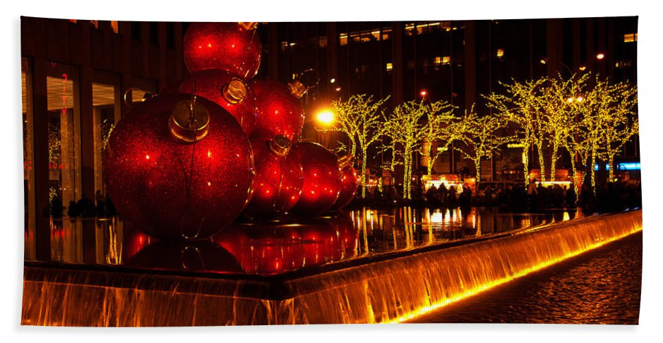 """""""new York City"""" Hand Towel featuring the photograph Ornamental Reflecting Pool by Paul Mangold"""