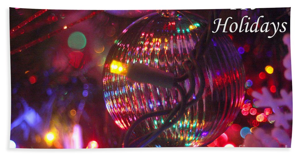 Merry Christmas Hand Towel featuring the photograph Ornaments-2038-happyholidays by Gary Gingrich Galleries