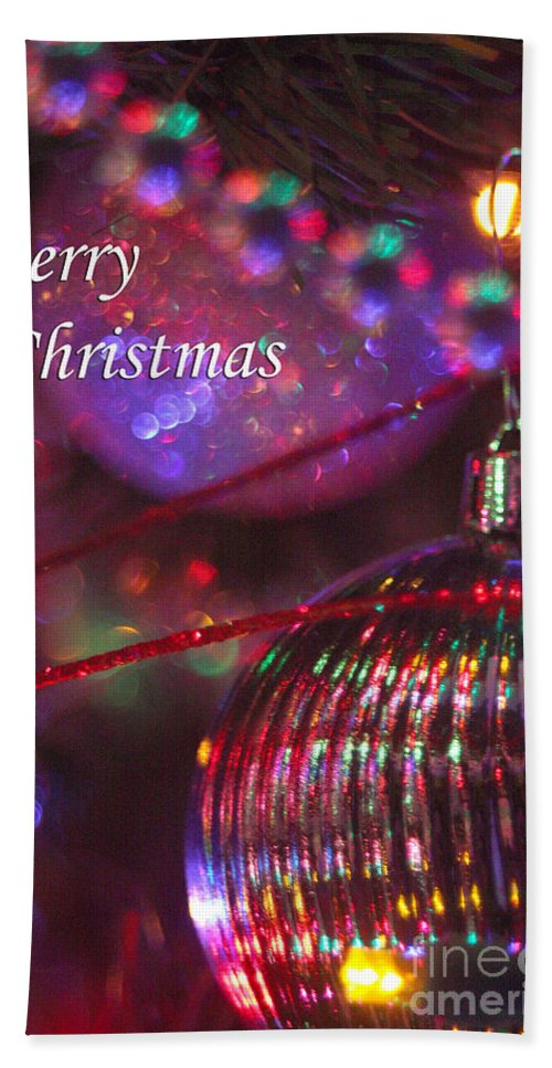 Merry Christmas Hand Towel featuring the photograph Ornaments-2052-merrychristmas by Gary Gingrich Galleries