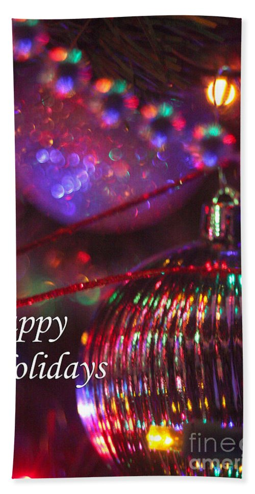 Merry Christmas Bath Sheet featuring the photograph Ornaments-2054-happyholidays by Gary Gingrich Galleries