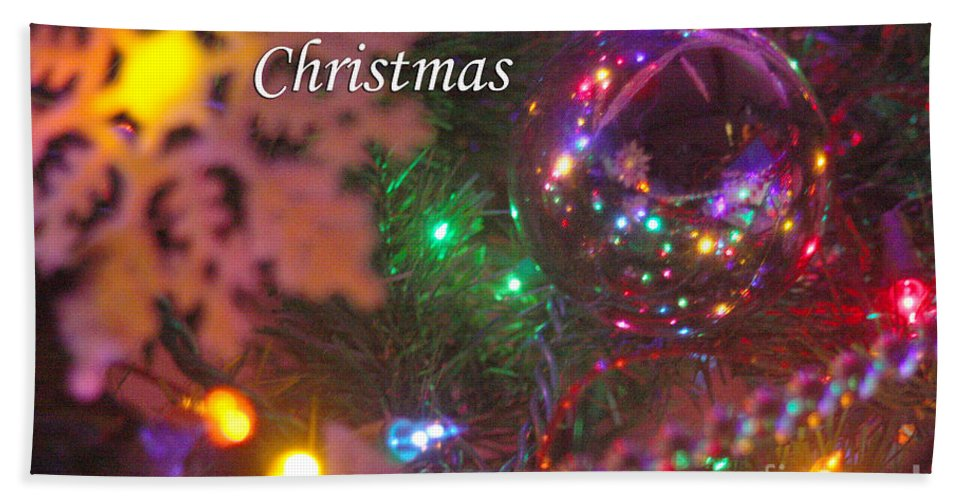 Merry Christmas Hand Towel featuring the photograph Ornaments-2090-merrychristmas by Gary Gingrich Galleries