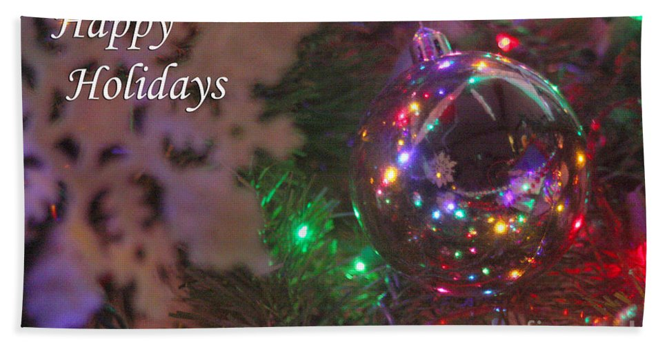Merry Christmas Hand Towel featuring the photograph Ornaments-2096-happyholidays by Gary Gingrich Galleries