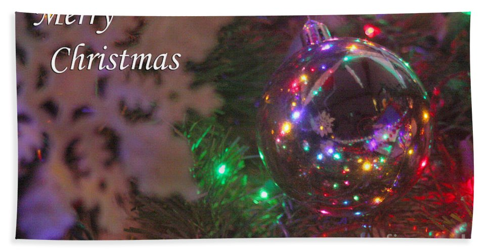 Merry Christmas Hand Towel featuring the photograph Ornaments-2096-merrychristmas by Gary Gingrich Galleries