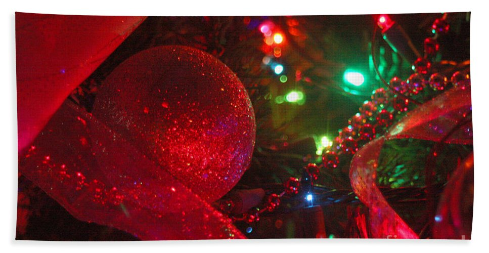 Merry Christmas Bath Sheet featuring the photograph Ornaments-2107 by Gary Gingrich Galleries