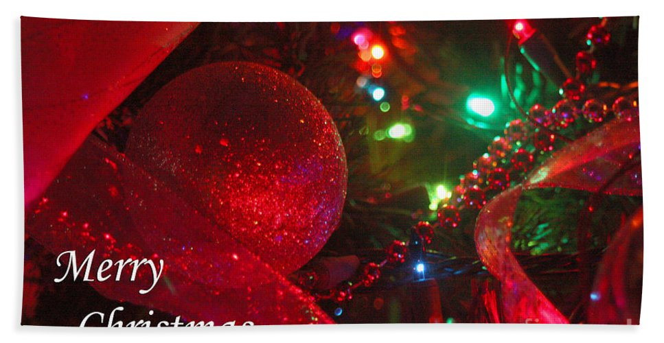 Merry Christmas Bath Sheet featuring the photograph Ornaments-2107-merrychristmas by Gary Gingrich Galleries