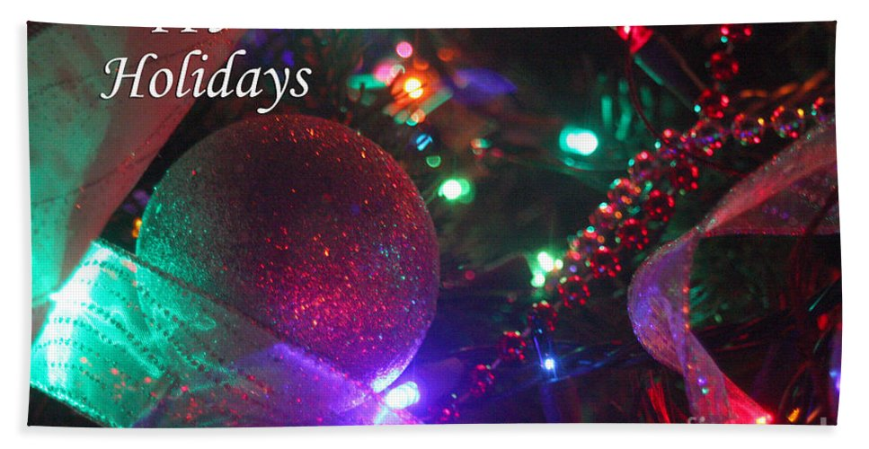 Merry Christmas Bath Sheet featuring the photograph Ornaments-2130-happyholidays by Gary Gingrich Galleries