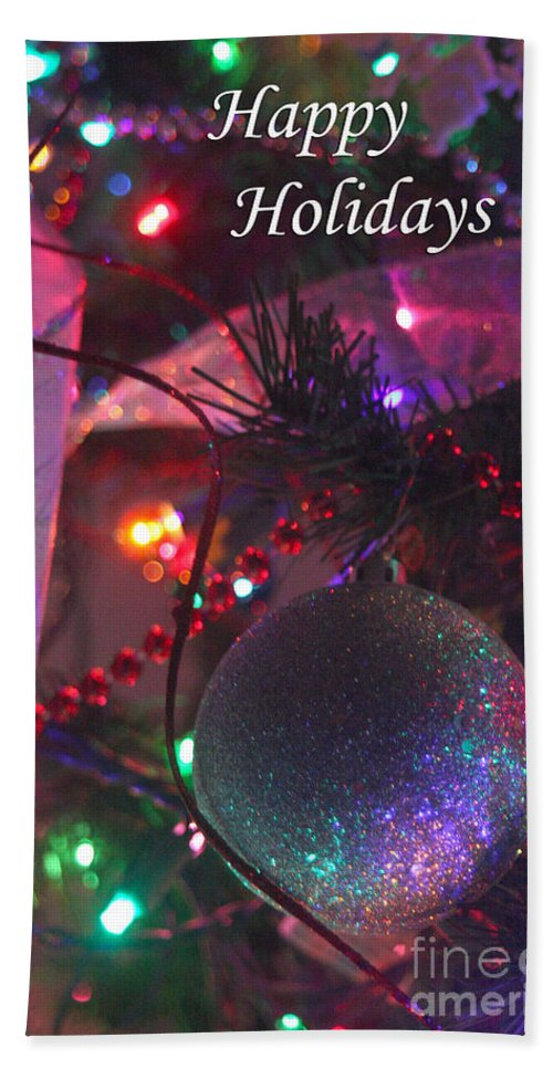 Merry Christmas Bath Sheet featuring the photograph Ornaments-2136-happyholidays by Gary Gingrich Galleries
