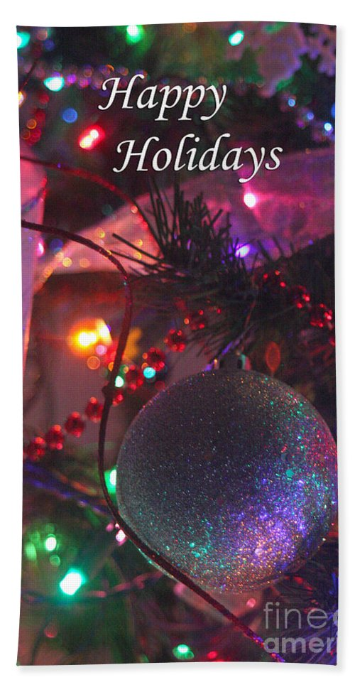 Merry Christmas Bath Sheet featuring the photograph Ornaments-2143-happyholidays by Gary Gingrich Galleries