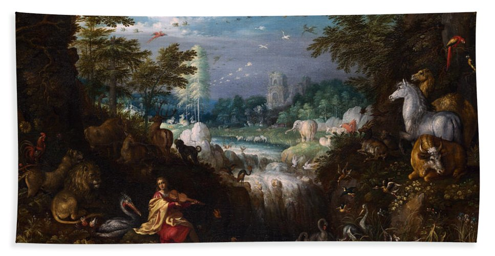 Roelant Savery Hand Towel featuring the painting Orpheus by Roelant Savery