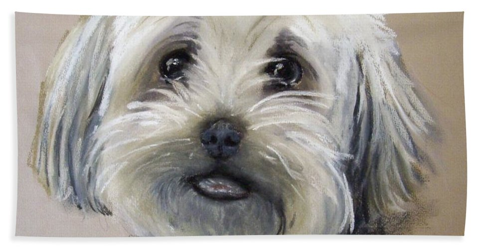 Dog Hand Towel featuring the pastel Oscar by Rosemarie Temple-Smith
