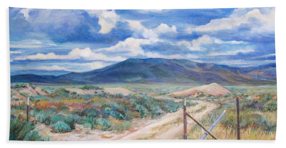 Bnature Bath Sheet featuring the painting Osceola Nevada Ghost Town by Donna Tucker