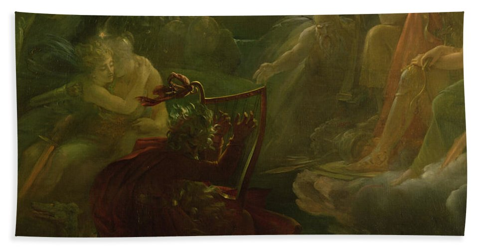 Ossian Conjuring Up The Spirits On The Banks Of The River Lora With The Sound Of His Harp Hand Towel featuring the painting Ossian Conjuring Up The Spirits by Francois Pascal Simon Gerard