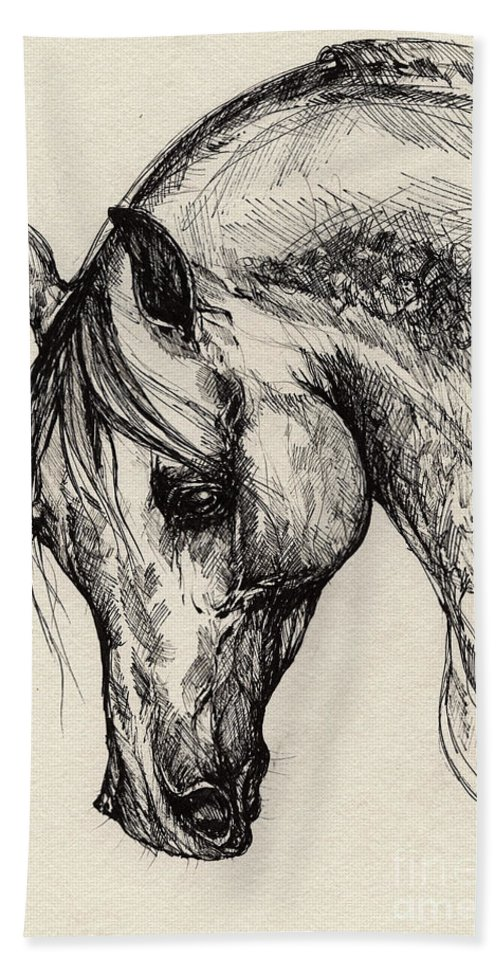 Polis Hand Towel featuring the drawing Ostragon by Angel Ciesniarska