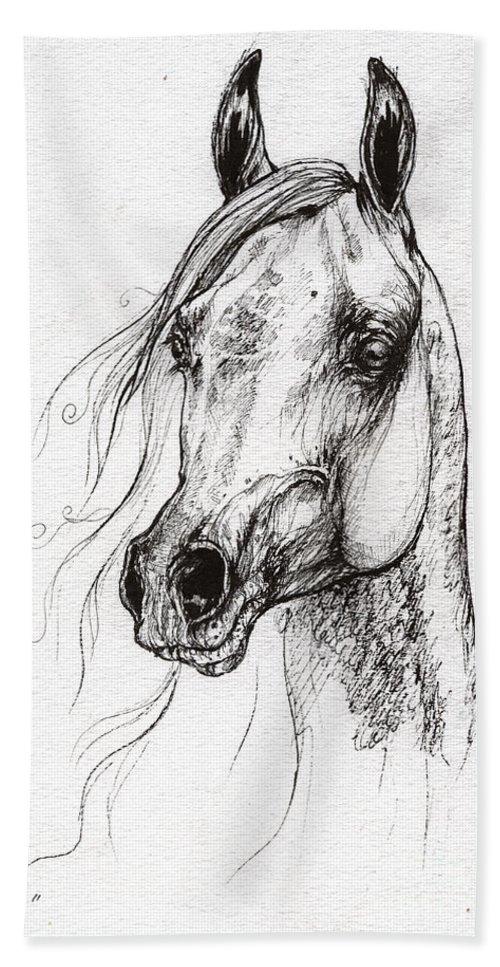 Hand Towel featuring the drawing Ostragon Polish Arabian Horse 3 by Angel Ciesniarska
