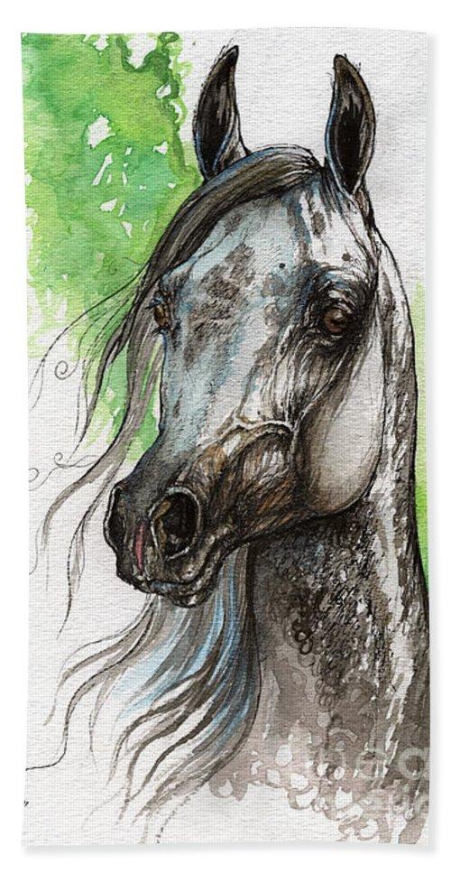 Horse Bath Sheet featuring the painting Ostragon Polish Arabian Horse Painting  by Angel Ciesniarska