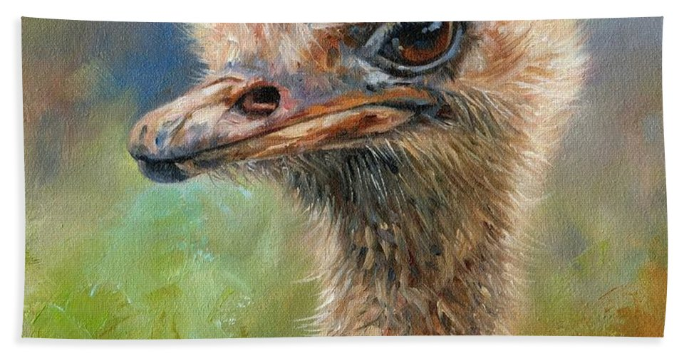 Ostrich Hand Towel featuring the painting Ostrich by David Stribbling