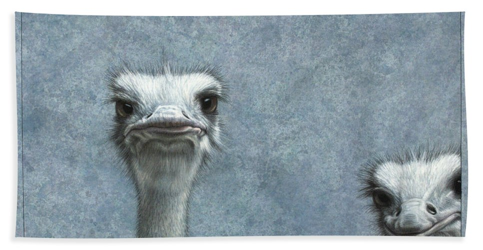 Ostriches Bath Towel featuring the painting Ostriches by James W Johnson